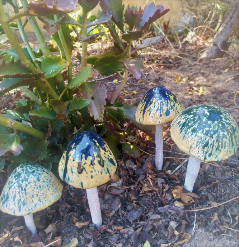 Ceramics, chime mushroom sculptures
