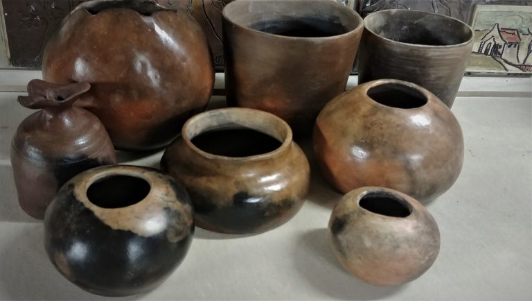 Burnished and smoke firing