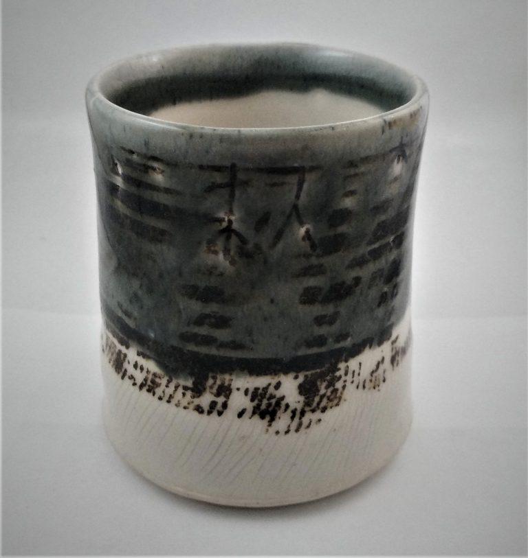 Ceramic mug, blue glaze, stoneware