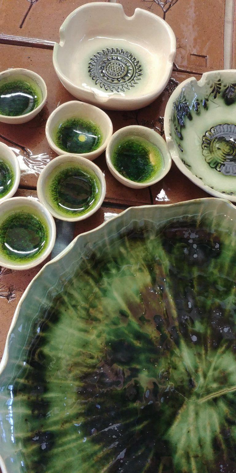ceramics, stoneware, marbles, copper transparent glaze