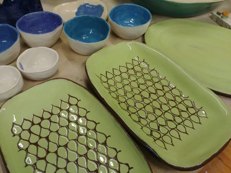 Terracotta, ceramics, slip carving.