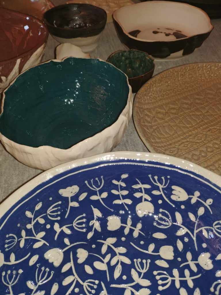 Ceramics, underglaze, slip, blue green