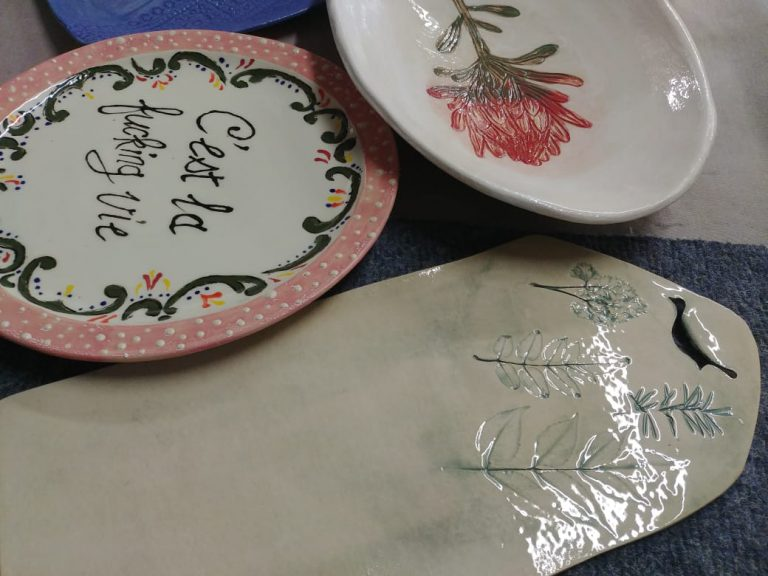 Ceramics, plates, platter underglaze paint