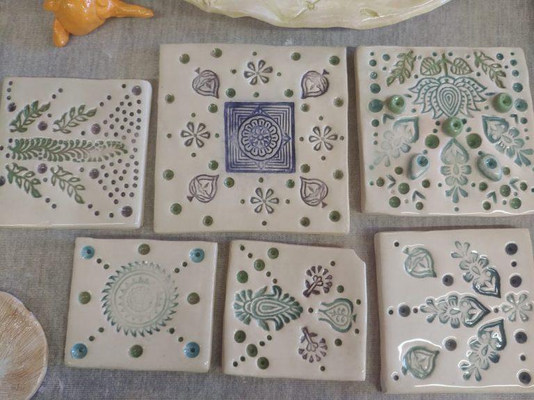 Ceramic tiles, underglaze, white stone ware