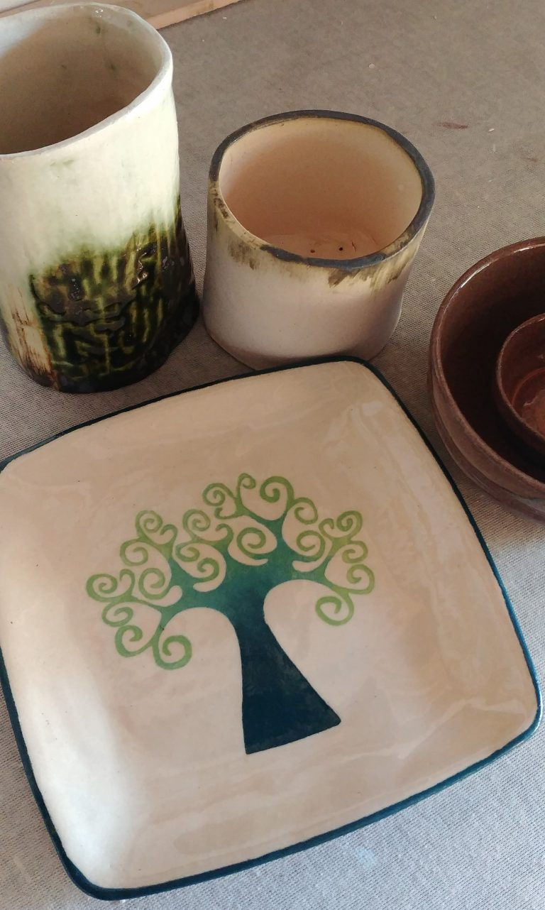 Ceramic plate, white stoneware, tree design