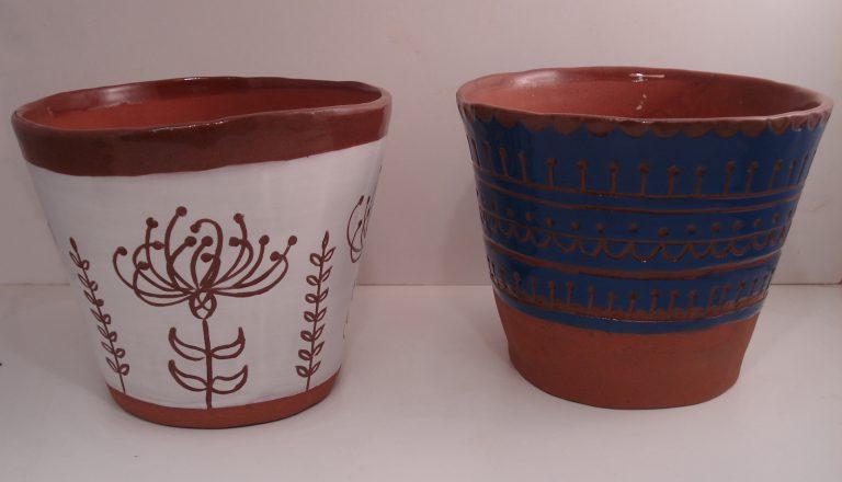 Scraffito terracotta planters